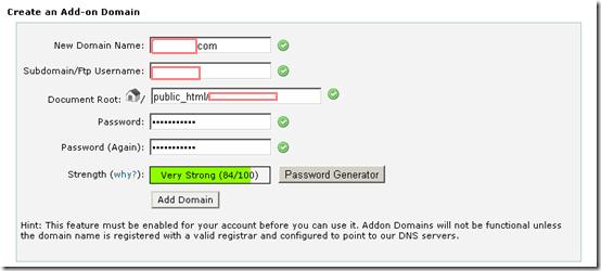 how to create addon domain