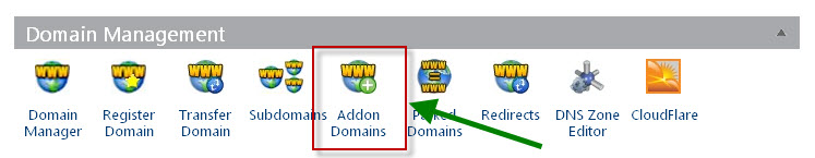 addon domain bluehost