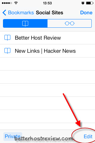 how to put a bookmark in a folder iphone