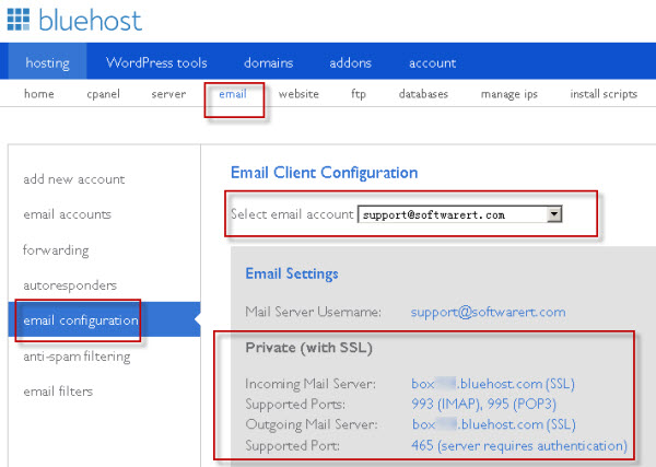 bluehost webmail settings