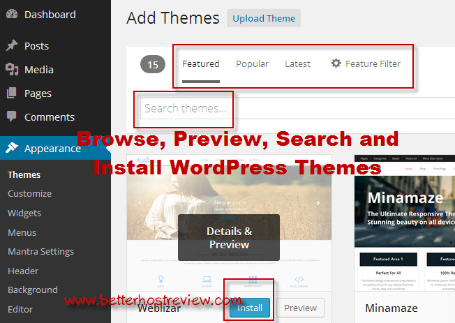 how to install wordpress template in cpanel - find and install wordpress themes