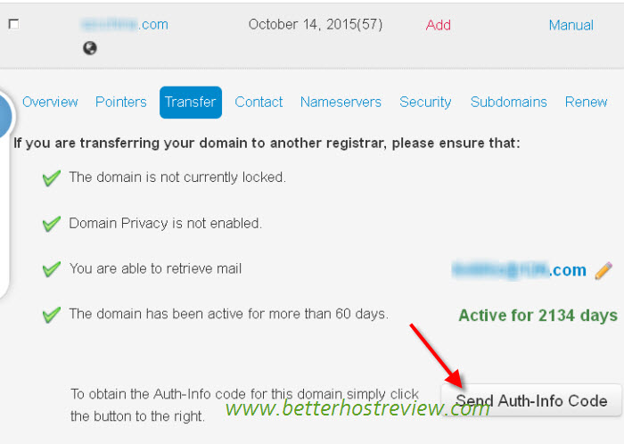 how to get authorization code for domain transfer 1and1