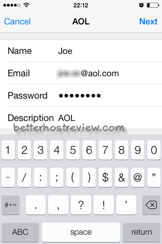 how to change aol password on iphone